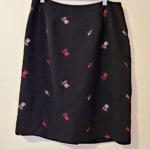 Black Pencil Skirt Hillard & Hanson embroidered